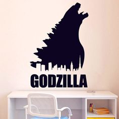 2016 NEW - Godzilla Monster Decals Art Decor Sticker Personalised Name Decal Mural Boys Room Wall Sticker Home Decoration