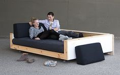 DIY Sofa-inspiration for a twin mattress sofa bed. Very child proof.