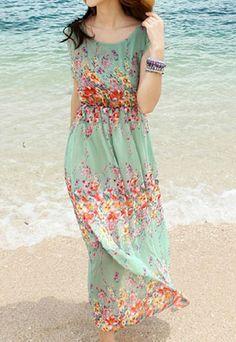 Bohemia Floral Print Full Length Beach Tank Dress Sundress [grxjy561040]