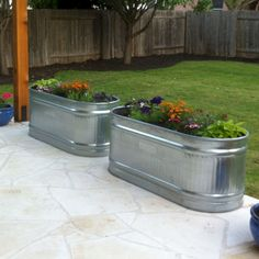 Front Porch Flower Planter Ideas 24 (Front Porch Flower Planter Ideas design ideas and photos – Front Yard İdeas Galvanized Planters, Trough Planters, Garden Planters, Porch Planter, Garden Trellis, Outdoor Flower Planters, Garden Troughs, Garden Spheres, Balcony Gardening