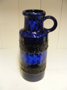 Blue Scheurich Fat Lava vase by RetroVases on Etsy