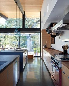 An openness to the outdoors – along with clean lines and simple details – were among the design requests by the clients, who previously lived in a midcentury-modern home.