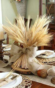Burlap and wheat center piece