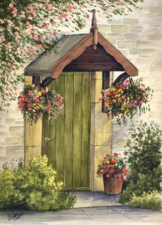 Best online resource for watercolour paintings for sale, this page contains a painting of a cottage front doorfound in Ashford in The Water by Matthew Palmer. Watercolor Canvas, Watercolour Painting, Watercolor Flowers, Watercolours, Cottage Door, Cottage Art, Cottage Canvas Art, Watercolor Paintings For Beginners, Internet Art