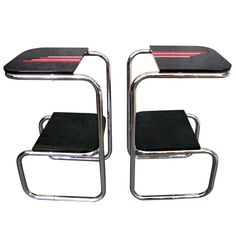 A Pair of German Art Deco Bauhaus Chrome End Tables circa 1925 | From a unique collection of antique and modern end tables at http://www.1stdibs.com/furniture/tables/end-tables/