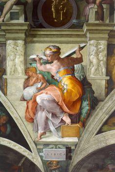 Michelangelo - The Libyan Sibyl. The Sistine Chapel ceiling, painted by Michelangelo between 1508 and Renaissance Kunst, High Renaissance, Renaissance Paintings, Pierre Auguste Renoir, Caravaggio, Fresco, Art Ninja, Sistine Chapel Ceiling, Italian Sculptors