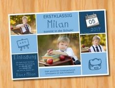 Ausgefallene Einladungskarten Einschulung 140 - Bild vergrößern