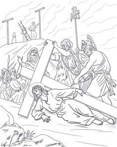 Ninth Station Jesus Falls The Third Time Coloring Page From Good Friday Category Select 28436 Printable Crafts Of Cartoons Nature Animals