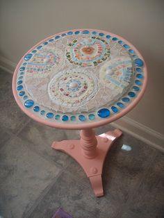 Pink Hydrangea Coastal Chic Mosaic Table   available   EarthMotherMosaics   Flickr