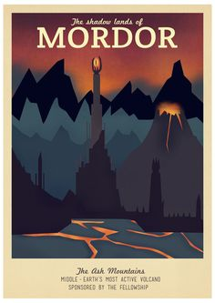 Retro Travel Poster Series - The Lord of the Rings - Mordor Art Print by Teacuppiranha | Society6