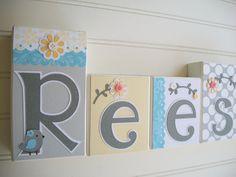 Baby Name Letters Nursery Name Blocks  Nursery by RessieLillian, $11.00