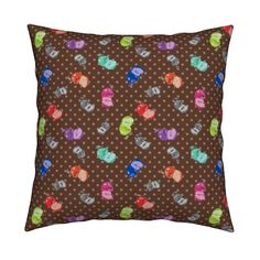 Catalan Throw Pillow featuring HAPPY APPLES SMALL BROWN DOTTY RETRO VINTAGE brown by paysmage | Roostery Home Decor