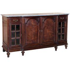 1stdibs | Antique Louis XVI Walnut Marble Top Buffet