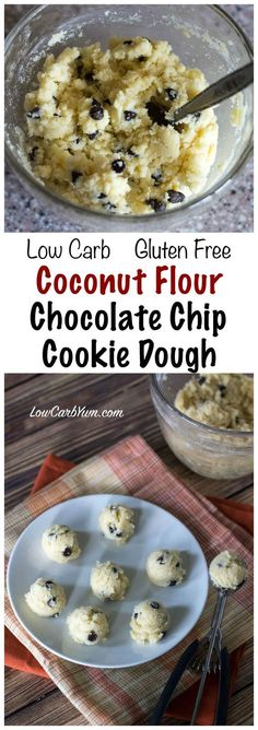 Gluten free low carb coconut flour chocolate chip cookie dough bites meant to be eaten raw. No baking required! Eat by spoonfuls or make bite size scoops.