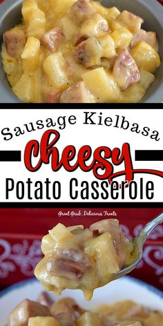 Sausage Kielbasa Cheesy Potato Casserole is an easy and hearty Kielbasa recipe made with sausage, potatoes and cheese. Sausage Kielbasa Cheesy Potato Casserole is an easy and hearty Kielbasa recipe made with sausage, potatoes and cheese. Kilbasa Sausage Recipes, Kielbasa Sausage, Sausage Potatoes, Cheesy Potatoes, Cheese Dishes, Beef Dishes, Crock Pot Cooking, Cooking Recipes, Grilled Carrots