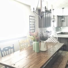 Here is a sneak peak of my new farmhouse table that Mr. TxSizedHome built me.  I still have to touch up the bench and poly the seat but I wanted to share!  We used @anawhitediy plans and it turned out beautiful.  I was also asked by my insta friend @redbrickmantle {#onetofollow} to share for some fun hashtags! #springintoeaster #springithome #tuesdaydecorparade #littletouchesofspring #tuesdaytableswag.  Would you care to share if you haven't already @poshstylediaries and @newenglandnesters?…