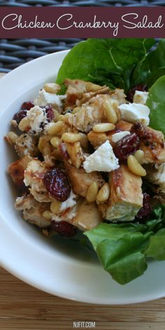 Simple Healthy Salad! 1 cup salad greens of your choice 1 skinless boneless chicken breast- grilled & chopped 1 tsp. pine nuts 1 tbsp. goat cheese 1 tbsp. dried cranberries- For dressing, mix 1 tbsp olive oil & 1 tbsp balsamic vinegar   Directions: In a bowl add salad greens, chicken, pine nuts, and cranberries. Toss with dressing. Top with goat cheese.