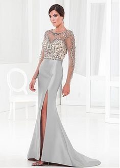 Elegant Tulle & Satin Mermaid Jewel Neckline Full-length Mother of the Bride Dress
