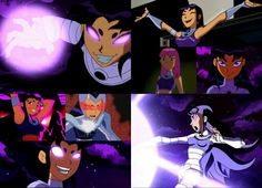 Many faces of Blackfire from Teen Titans.