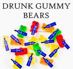 Drunk Gummy (gummi) Bears! Making these for Super Bowl weekend. So easy! I'm thinking they would be great for GNO, Bachelorette party, Christmas party, New Year's Eve, 21st Birthday, etc!