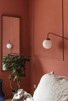 So, these days and I are participating in the Danish interior show Nybyggerne on Danish television I want to share… Oak Bedroom, Bedroom Red, Bedroom Wall, Bedroom Decor, Danish Interior, Red Walls, Unique Lamps, Red Interiors, Wall Colors