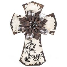 Distressed Cross with Flower & Crystal Center