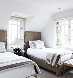 Love the neutral Hudson Bay blankets! Via Canadian House and Home