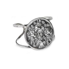 NOVICA Sterling silver cuff bracelet ($160) ❤ liked on Polyvore featuring jewelry, bracelets, clothing & accessories, cuff, sterling silver, sterling silver medallion, handcrafted jewelry, hammered jewelry, hand crafted jewelry and hinged cuff bracelet