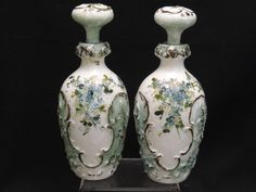ANTIQUE 19 c  PAIR of HAND PAINTED PERFUME BOTTLES ~ 10""