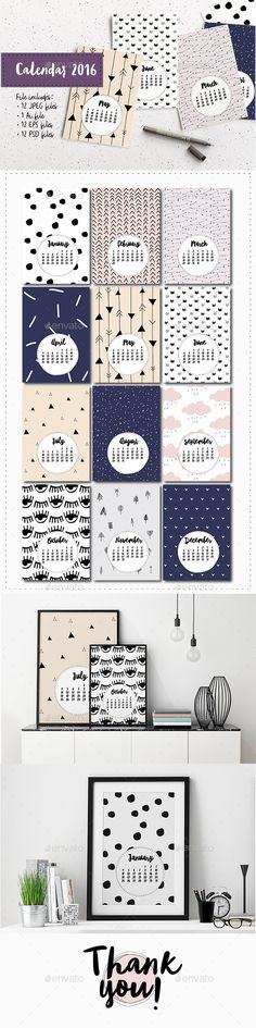 Cute Vector Calendar 2016 Template PSD, Vector EPS, AI #design Download…
