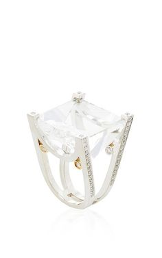 14k white gold, clear crystal quartz and diamond ring by JORGE ADELER for Preorder on Moda Operandi #mustown #modaoperandi