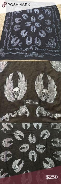 Alexander McQueen skull scarf shawl Perfect condition Alexander McQueen scarf/shawl. Black with silver skulls. It's huge! Alexander McQueen Accessories Scarves & Wraps