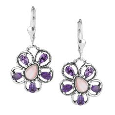 Carolyn Pollack Jewelry // Botanical Bliss Purple Flower Dangle Earrings