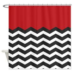 Red Black and white Chevron Shower Curtain
