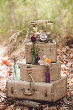 Boho chic wedding party luggage decorations! See more party planning ideas at CatchMyParty.com!