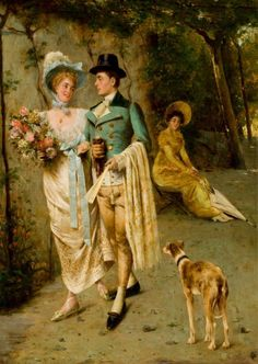 An Afternoon Stroll by Pompeo Massani (Italian 1850 – Victorian Paintings, Victorian Art, A4 Poster, Poster Prints, Art Through The Ages, Antique Paint, Couple Art, Vintage Artwork, Painting & Drawing