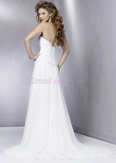 White Sweetheart Lace-up Garden/Outdoor Chiffon Wedding Dresses With Crystal WD185B