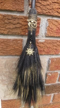 Broom Witches Broom Altar BesomBlack and Gold by WayOfTheCauldron