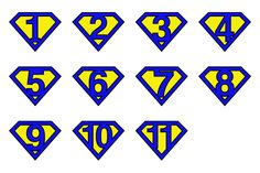 Super numbers v1 by stockimagefolio on Creative Market #Superman #numbers - royal blue