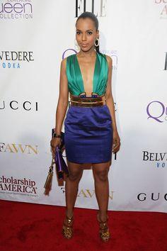 Gucci Spring 2011 RTW Plunging-Neck Dress, Gucci Wide Adjustable Tassel Python Belt, Gucci 'Malika' Clutch & Gucci Malika Sandals