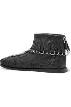 Alexander Wang - Montana Embellished Fringed Textured-leather Ankle Boots - Black - IT37.5