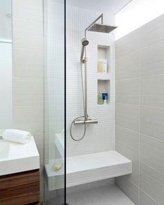 30 Stunning Small Bathroom Ideas On A Budget - Bathroom Renovation Ideas Small Bathroom Ideas On A Budget, Budget Bathroom, Bathroom Interior, Modern Bathroom, Master Bathroom, Bathroom Remodeling, Basement Bathroom, Modern Shower, Minimalist Bathroom