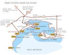 Mapa Turístico desde Las Grutas (provincia de RIO NEGRO - PATAGONIA ARGENTINA) San Antonio, Patagonia, Best Memories, Peru, Chile, Yerba Mate, Tourist Map, Bahia, Buenos Aires