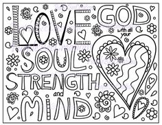 coloring page bible verse coloring page love god with all your heart soul strength and mind