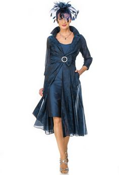 Navy organza jacquard flowing coat with silk dress