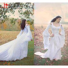 De Hadas de la fantasía Medieval de Encaje Hasta Vestidos de Boda Del Hombro…