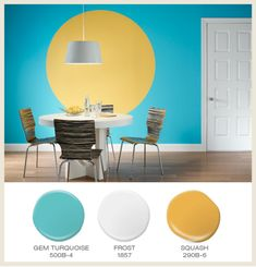 Geometric shapes like a bold circle define the energy in a space Wall Colours, Paint Colours, Room Colors, Nursery Stripes, Striped Nursery, Playroom Paint Colors, Bathroom Paint Colors, Colorful Rooms, Paint Palettes