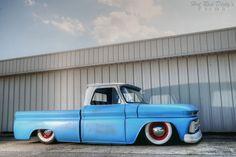 Blue/White slammed truck