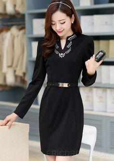 корейский стиль ол V-образным вырезом горный хрусталь украшения оболочка платья Платья по фигуре