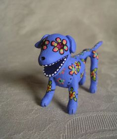 Miniature Day of the Dead Art Sugar Skull Periwinkle by ClayLindo